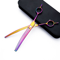 8.0 inch thinning downward Curved blade scissors nail pet scissors professional Japan 440c curved dog grooming shears