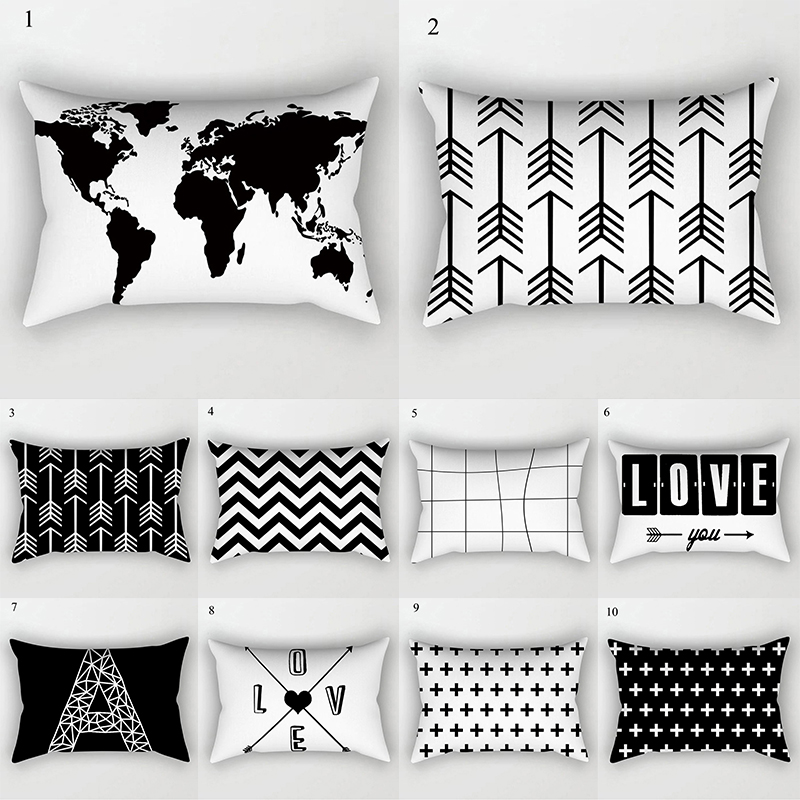 Black White Geometric Cushion Cover Home Decor Velvet Map Arrow Pillow Cover 30x50cm Decorative Sofa Pillows Case Pillowsham