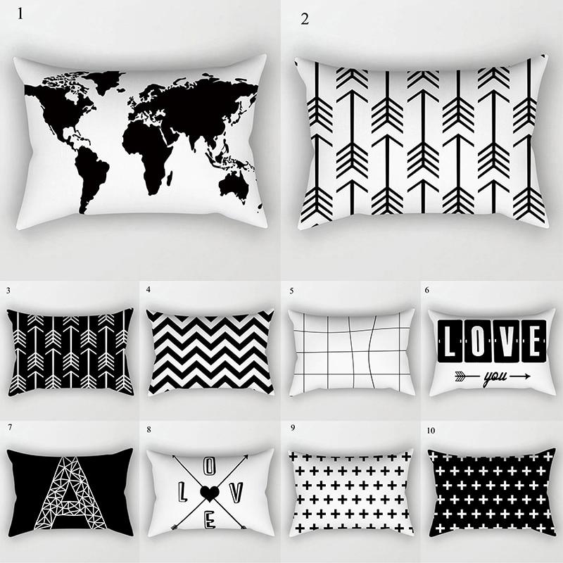 Black White Geometric Cushion Cover Home Decor Velvet Map Arrow Pillow Cover 30x50cm Decorative Sofa Pillows Case Pillowsham