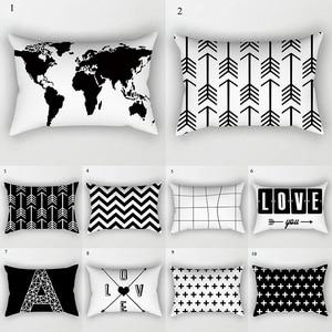 Black White Geometric Cushion