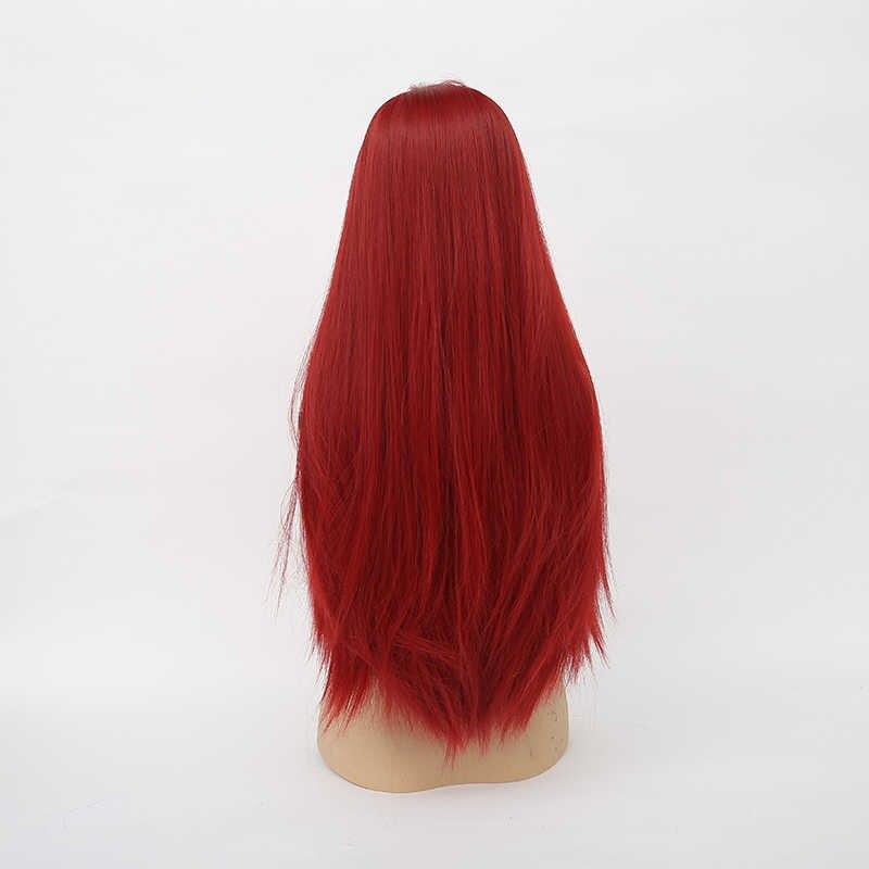 Grillige W 26 Inch Lange Rechte Pruiken Natuurlijke Middelste Deel Wijn Rode Hittebestendige Haar Synthetische Pruik Voor Vrouwen