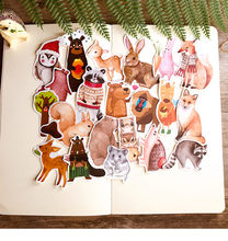 22PCS Cute small animal hand sticker material Children reward sticker Creative photo album dIY sticker