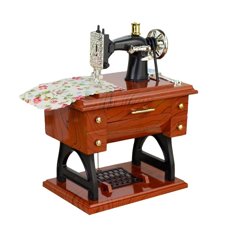 Vintage Simulation Sewing Machine Music Box Retro Treadle Sartorius Decoration As Gifts