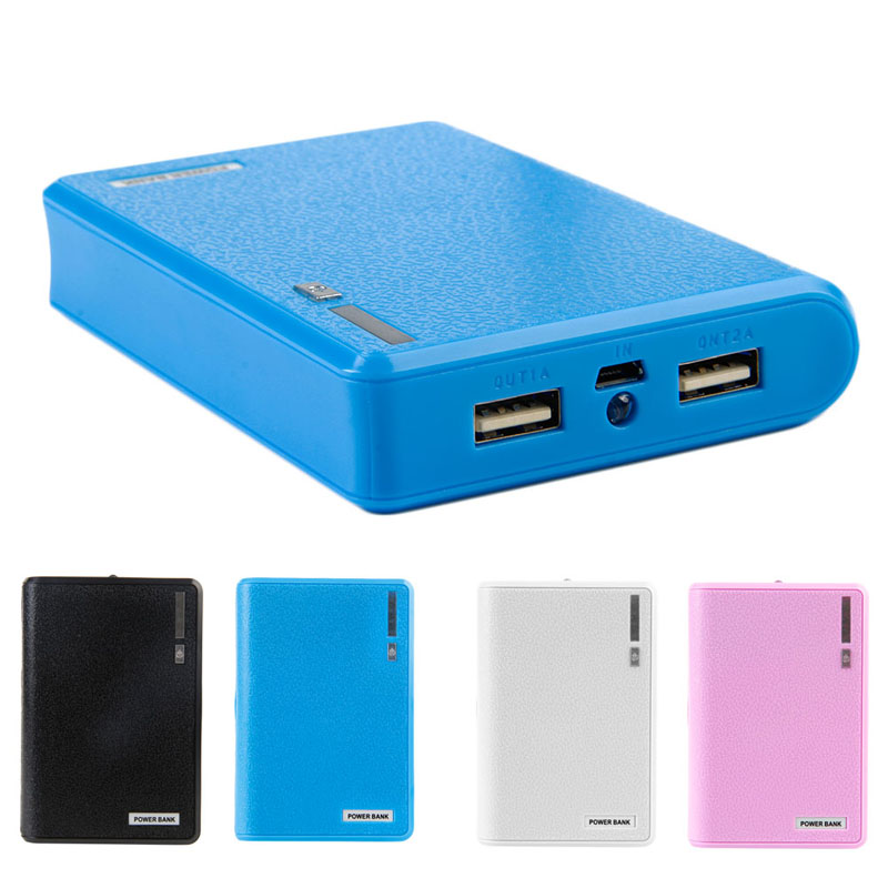 Dual USB Power Bank <font><b>4x</b></font> <font><b>18650</b></font> External Backup Battery Charger Box Case For Smart Phone image