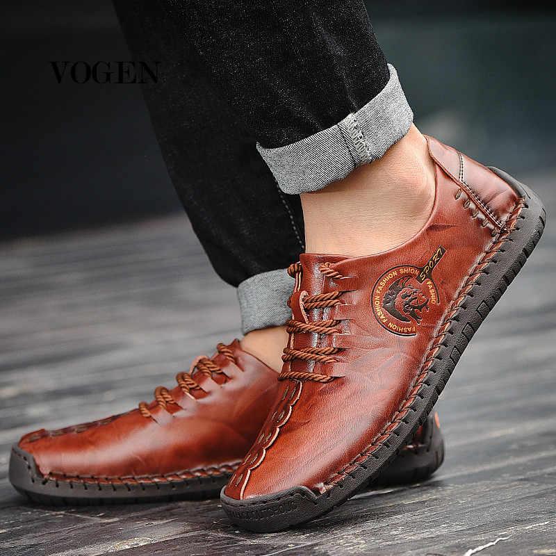 Summer Luxury Leather Shoes Men Big