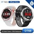 DTNO. I NO.1 DT68 Смарт-часы браслет 20 циферблат циферблатов Фитнес трекер IP68 Водонепроницаемый сообщение пуш-ап bluetooth Smartwatch Для мужчин