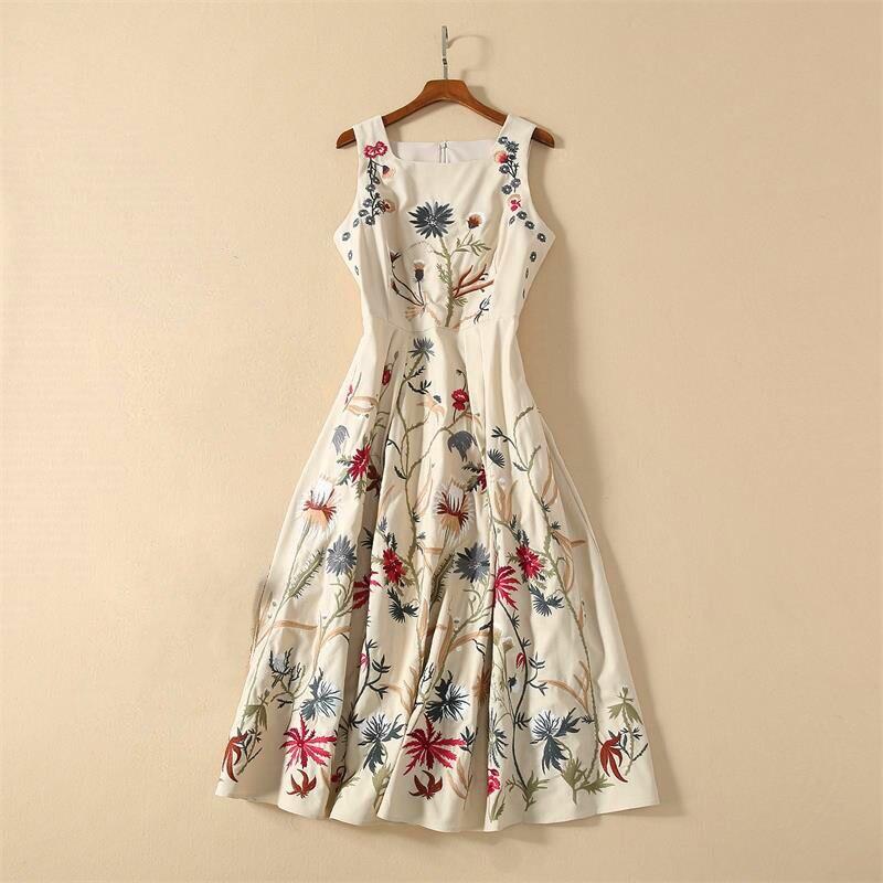 Women  Runway Dress 2020 High Quality Spring Summer O-Neck Sleeveless Embroidery Elegant Dresses Vestidos NP0950Y