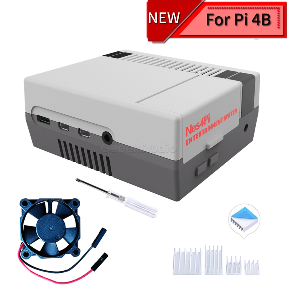 New NES4Pi NES Style Case Kit ABS Functional Cooling Fan Heatsinks Screwdrivers Only For Raspberry Pi 4 B ( 4 Model B )