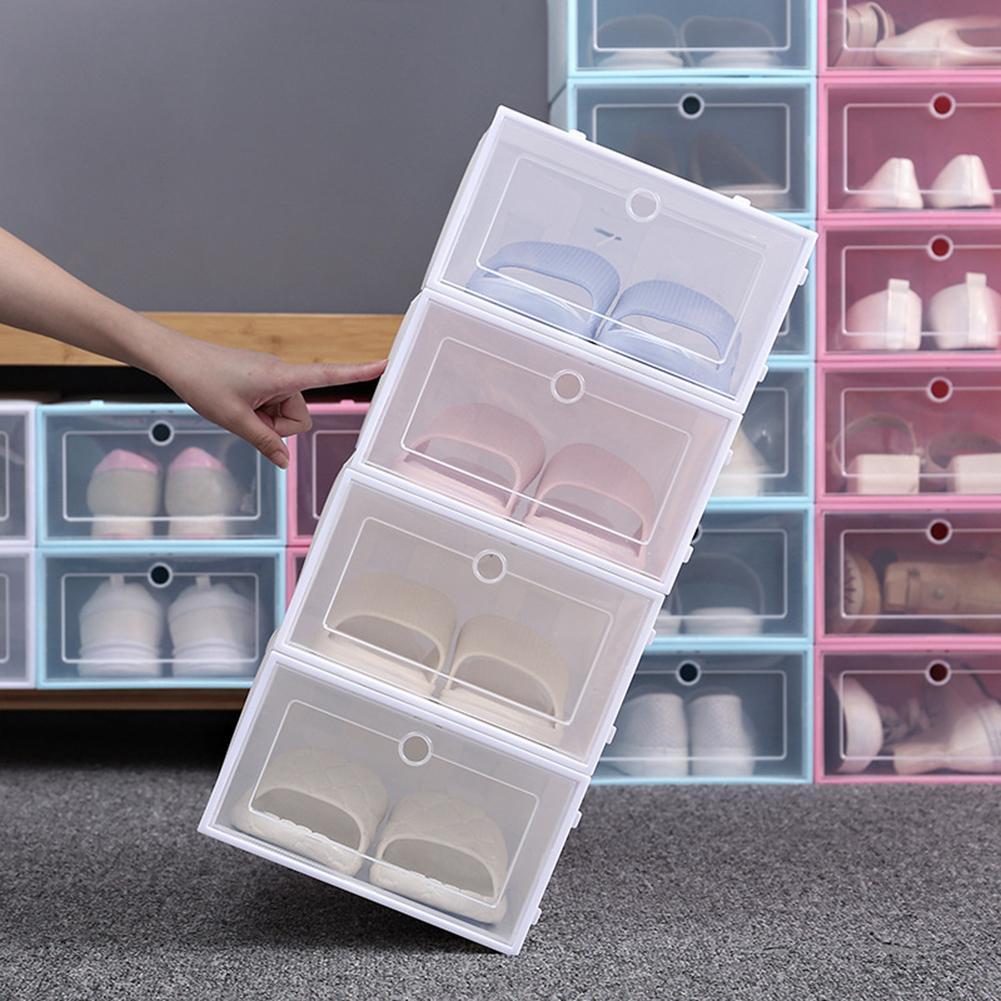 1PC Flip-Open Cover Durable Plastic Shoe Hanger Storage Transparent Box Divider Drawer Portable Shoes Organizer