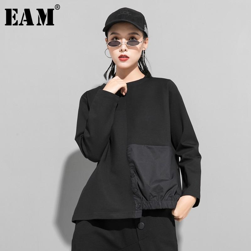 [EAM] Loose Fit Black Asymmetrical Split Sweatshirt New Round Neck Long Sleeve Women Big Size Fashion Tide Spring 2020 1R425