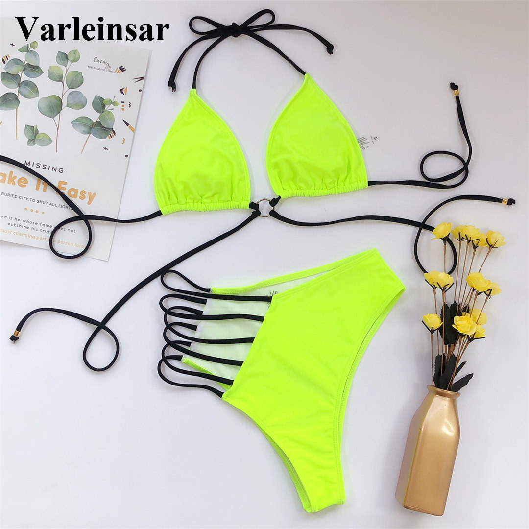 2020 Sexy Neon Yellow Pink Asymmetrical Bikini High Waist Swimsuit Women Swimwear Bikini set Halter Bather Bathing Suit V1810 2