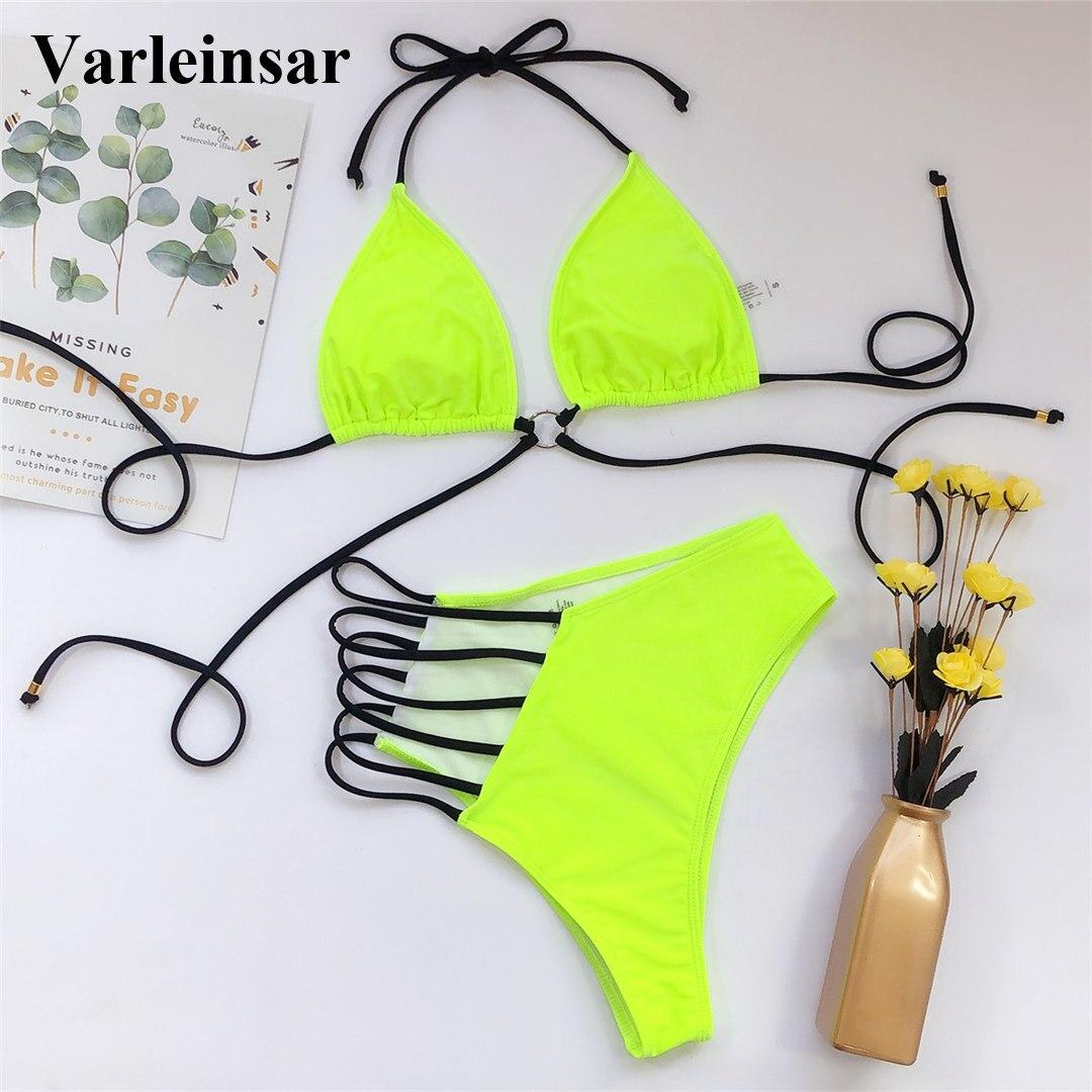 2020 Sexy Neon Yellow Pink Asymmetrical Bikini High Waist Swimsuit Women Swimwear Bikini set Halter Bather Bathing Suit V1810 2