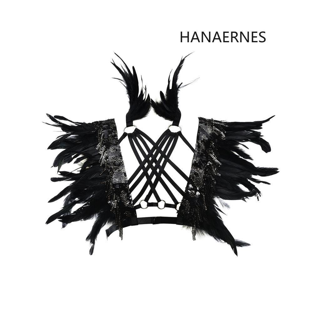HANAERNES Fashion Black Feather Harness Punk Feather Cage Bralette Open Chest Feather Bra BDSM Exotic Goth Lingerie Feather Tops