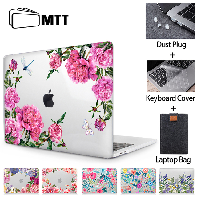 MTT Floral Laptop Case For Macbook Air Pro 11 12 13 15 16 Touch Bar Crystal 2020 Hard Cover for macbook air 13 a2179 a1932 a1466