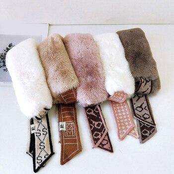 Crochet Knitted Scarf Long Skinny Knitting Scarves Plush Scarf Female Fur Collar Neck Winter Warmer Scarves Neck Collar Scarves