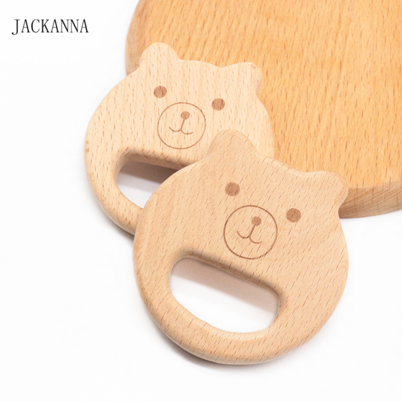 Cartoon Bear Wooden Teether BPA Free Infant Chew Toys DIY Teething Accessories Cute NewbornBaby Play Toy Beech Wood Baby Teether