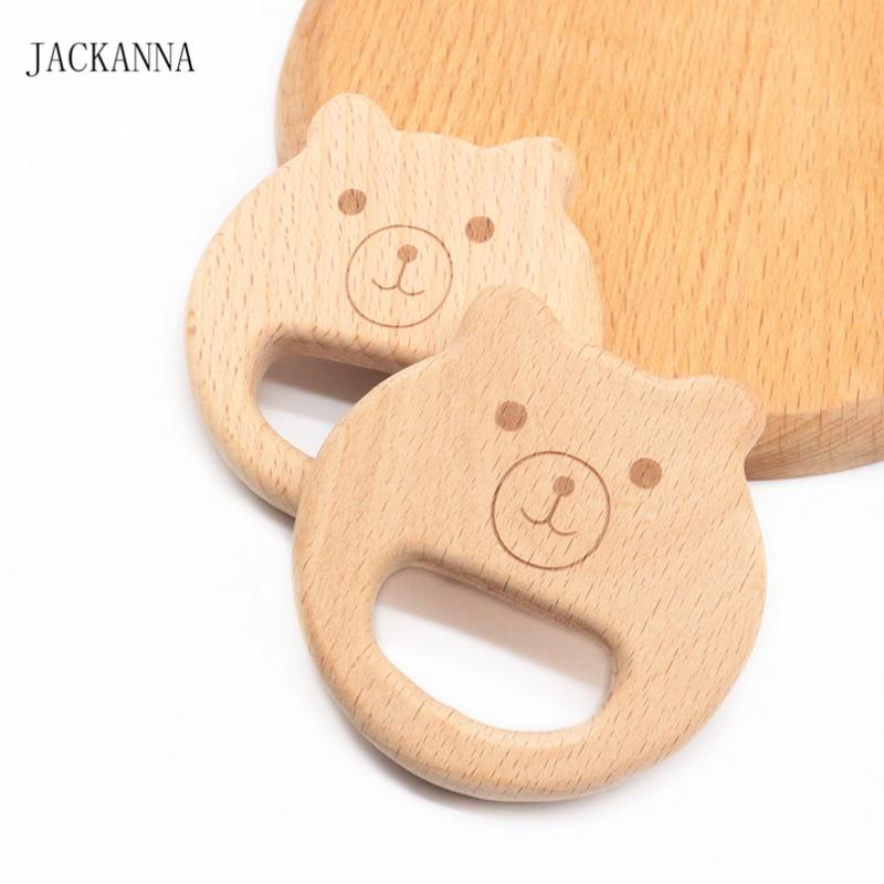 Cartoon Bear Wooden Teether BPA Free Infant Chew Toys DIY Teething Accessories Cute NewbornBaby Play Toy Beech Wood Baby Teether