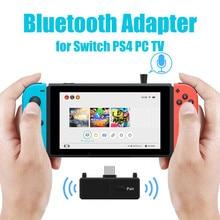 블루투스 5.0 오디오 Transmitte 동글 EDR A2DP SBC 낮은 대기 시간 USB C 타입 C 무선 어댑터 및 마이크 닌텐도 스위치 PS4 TV PC 용