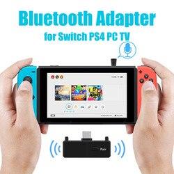 Bluetooth 5.0 émetteur Audio Dongle EDR A2DP SBC faible latence USB C type-c adaptateur sans fil et micro pour Nintendo Switch PS4 TV PC