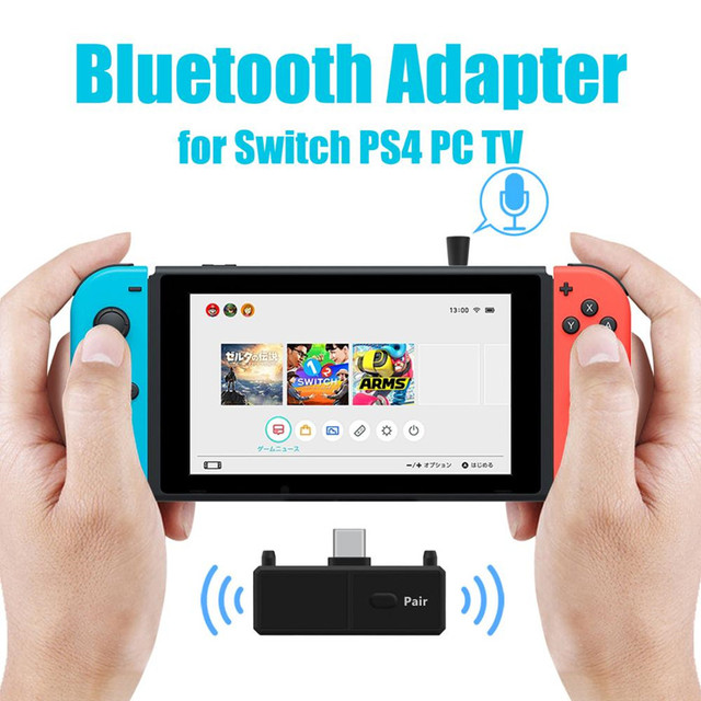 Bluetooth 5.0 Audio Transmitte Dongle EDR A2DP SBC Low Latency USB C Type C Wireless Adapter & Mic for Nintendo Switch PS4 TV PC