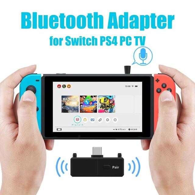 Bluetooth 5.0 émetteur Audio Dongle EDR A2DP SBC faible latence USB C type c adaptateur sans fil et micro pour Nintendo Switch PS4 TV PC