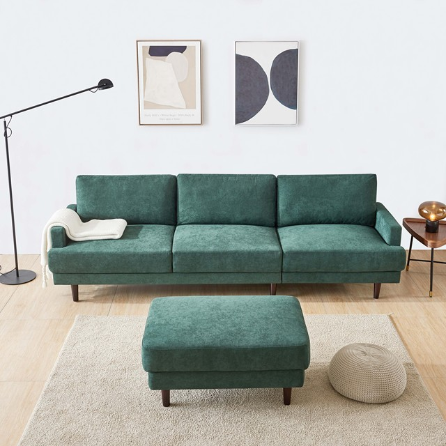 L Shape 3 Seater Couch w/ Ottoman 3