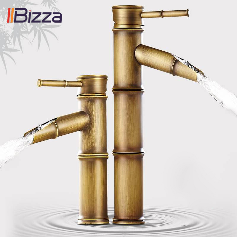 Antique Brass Waterfall Bathroom Sink Faucet Luxury Tall Bamboo Cold Water Tap Retro With Two Pipes Outdoor Garden Basin Faucets