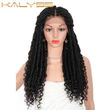 Braids Wig Front-Wigs Curly-Ends Knotless Lace Locs Goddess Kalyss Women 18-Inches