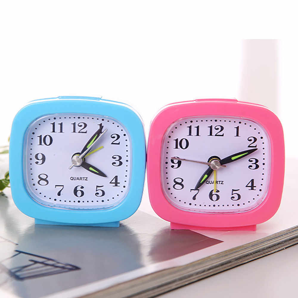 New Alarm Clock Bedroom Desk Square Small Bed Compact Travel Quartz Beep Clock Cute Portable Fashion Clock for Student #YL1