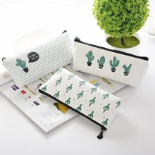 Mini Charge Pouches School Cute Cactus Pencil Storage Bag Canvas Students Supplies Stationery Organizer