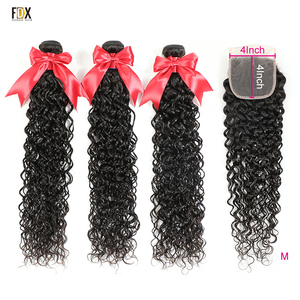 FDX 100% Brazilian Human Weave Hair 8-36 Inch Water Wave 3 Bundles with Closure 4x4 Lace Closure Remy Hair