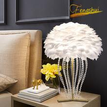 Скандинавская светодиодсветодиодный Настольная лампа с страусиными