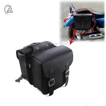 цена на ACZ Motorcycle Saddle Bags for Harley Sportster XL 883 XL 1200 Leather Side Tool Bag Luggage Black XL883 XL1200