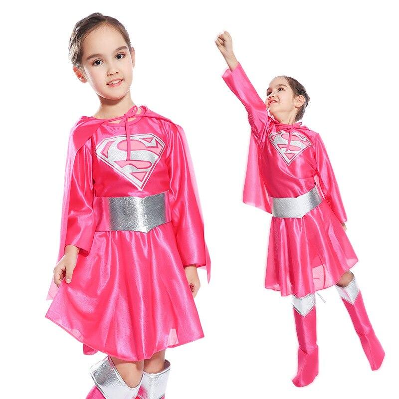 4pcs Kdis Supergirl Dress Up Girls Super Hero Costumes Child Halloween Cosplay Dresses Cape Belt Shoe Covers