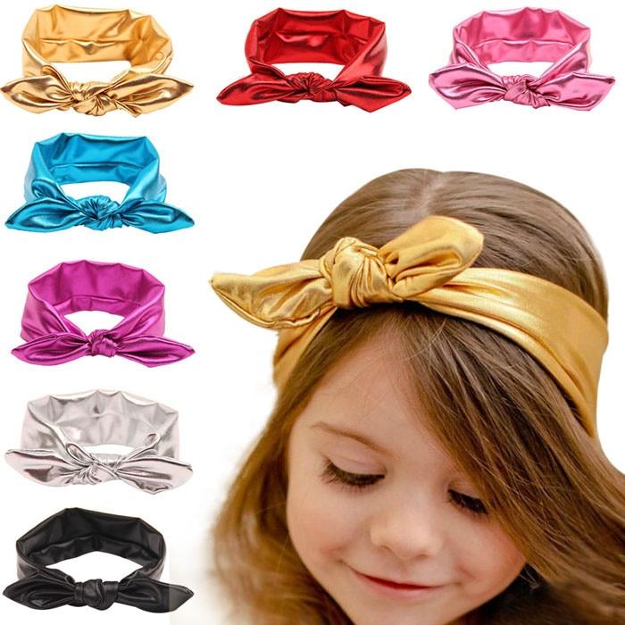 Newborn Toddler Baby Headband Golden Silver Solid Baby Kids Girls Bowknot Hairband Elastic HeadbandGirls Heawear Accessories