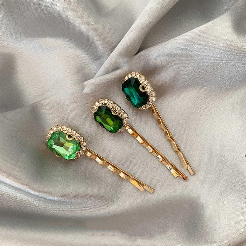 1PCS Retro สีเขียวคลิปผมหรูหรา Rhinestone Pearl หญิงคลิปสุทธิสีแดงอุปกรณ์เสริม Hairpins Headdress เกาหลี