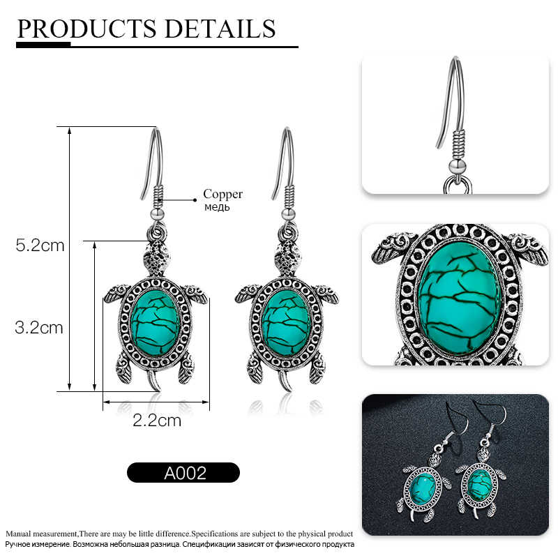 QCOOLJLY Vintage Bohemian Unique Jewelry Sets Turtle Tortoise Necklace Earrings Bracelet conjuntos de bisuteria sieraden set