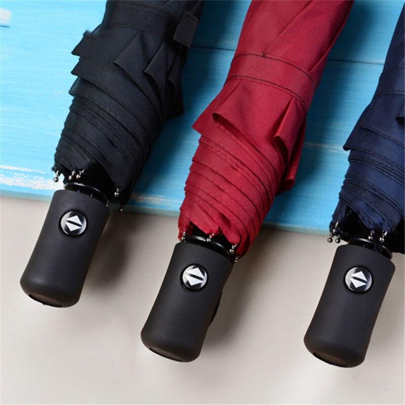 8-костный бизнес полностью автоматический зонт Экстра-Большой тройной складной динамический роскошный большой Ветрозащитный Зонт от дождя
