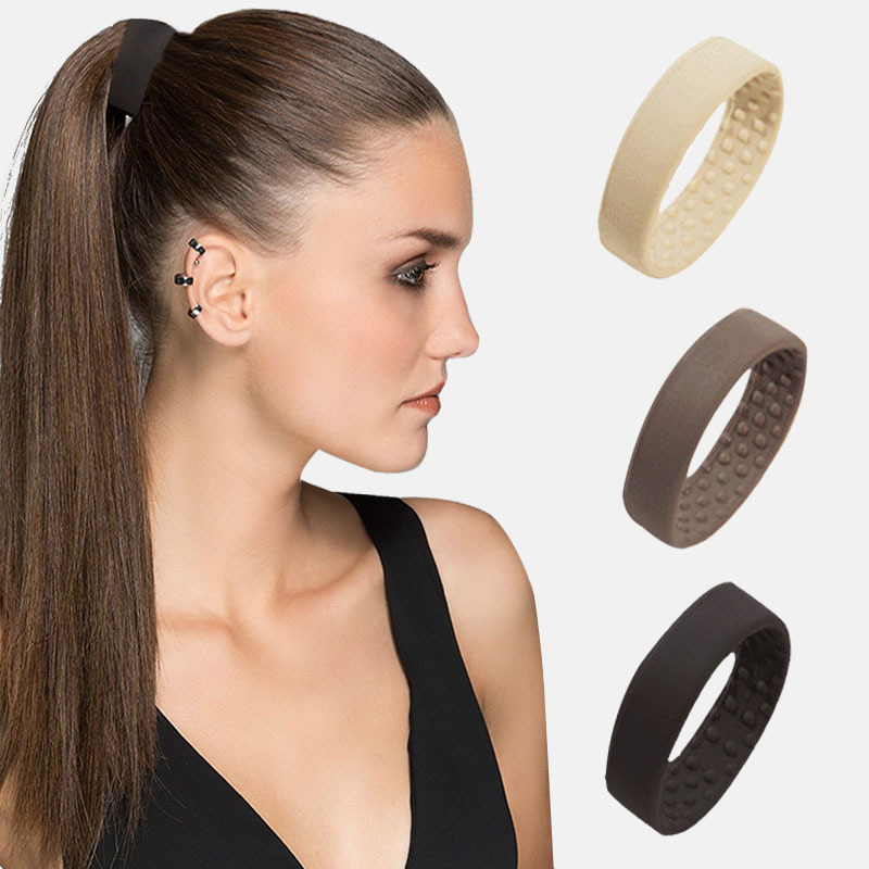 6.5cm Metal Inside Foldable Silicone Hair Bands To Make Long Hair Styling Hair Ties Ponytail Holders Hair Tools