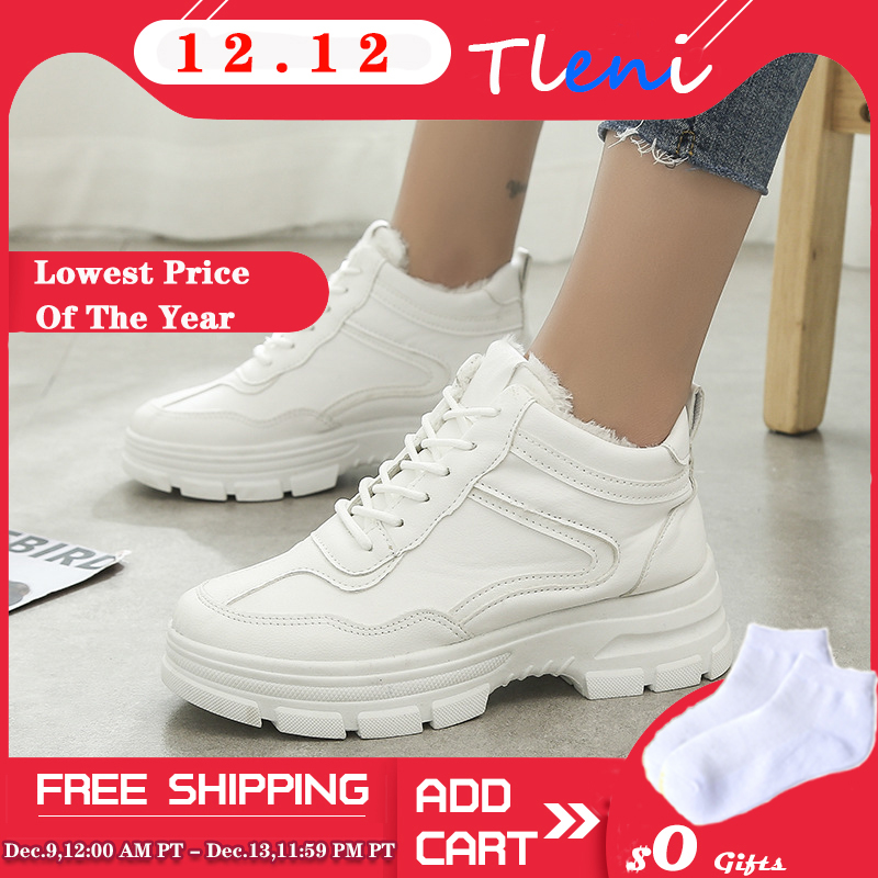 2019 Autumn And Winter Korean Fashion Wild Tide Students White Shoes Plus Velvet Casual Sports Shoes Women ZZ-109