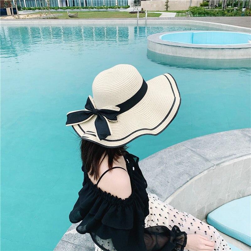 2021 Spring Summer New Bow Big Brim Straw Hat Summer Sun Protection Shading Fashion Beach Hat Tea Picking Beach Sun Straw Hat
