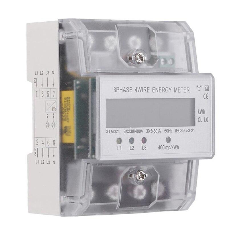 XTM024 5 80A цифровой 3 фазный 4 провод тока метр ЖК дисплей измеритель на din рейку инструменты для анализа и измерений счетчиков электроэнергии