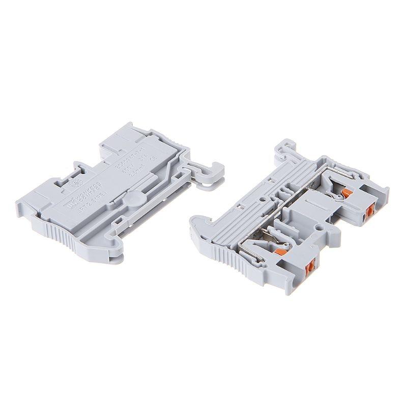 10pcs/set PT 2.5 Push In Din Rail Mounted Terminal Blocks Spring Screwless Feed Through Electrical Components Parts wholesale|Terminal Blocks| - AliExpress