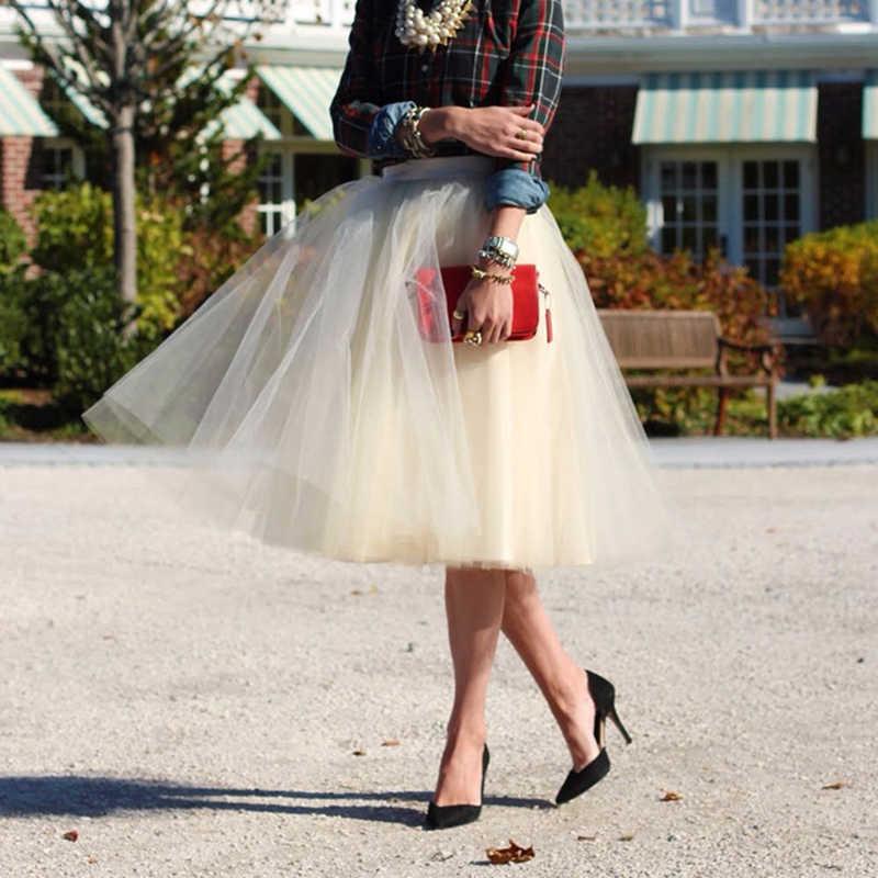 26 farben 5 Layered 65cm Knie Länge Tüll Rock Tutu Frauen Rock Hohe Taille Gefaltete Rock Cosplay Petticoat Elastische gürtel Faldas