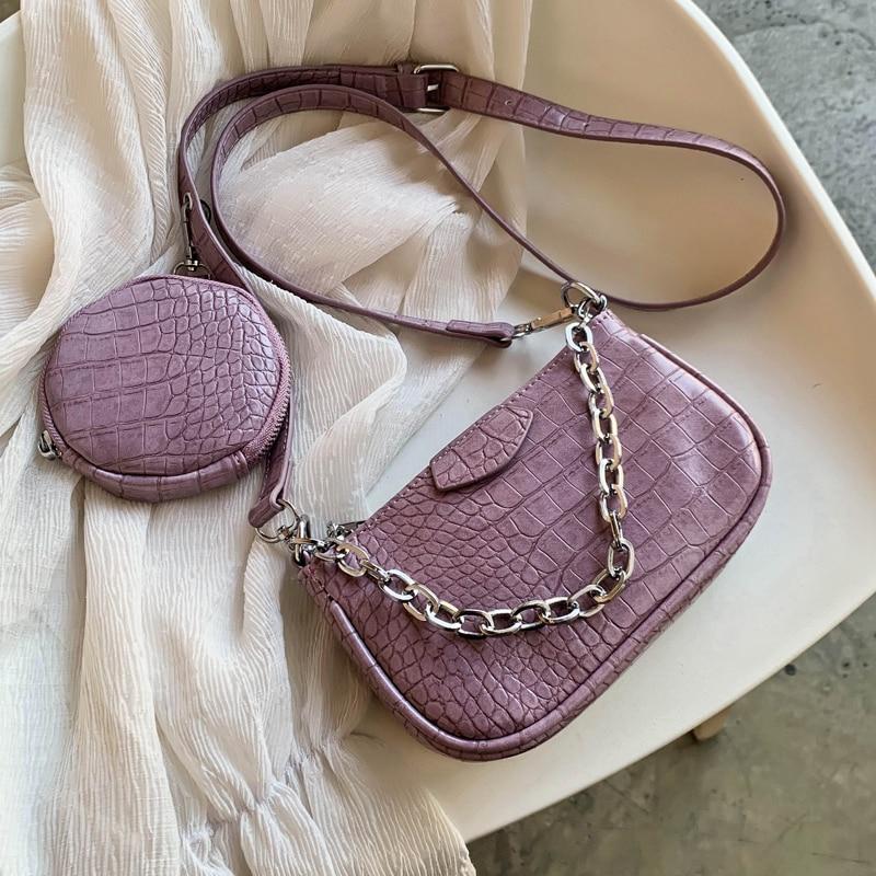 2 PCC/SET Crocodile Pattern Small PU Leather Shoulder Bags For Women 2020 Handbags Female Round Bags Travel Crossbody Bag