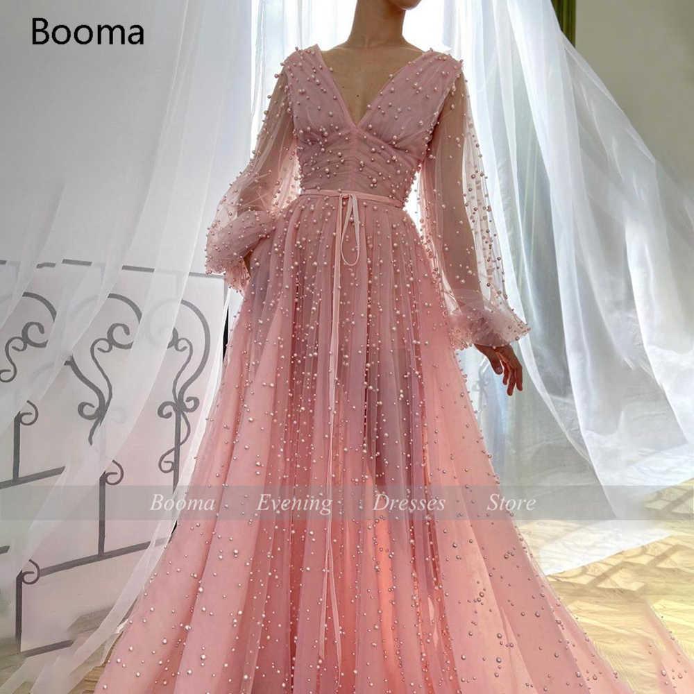 Розовые тяжелые платья для выпускного с жемчугом, глубоким v-образным вырезом, длинными прозрачными рукавами, вечерние платья, кружевные ленты, платья трапециевидной формы с рюшами