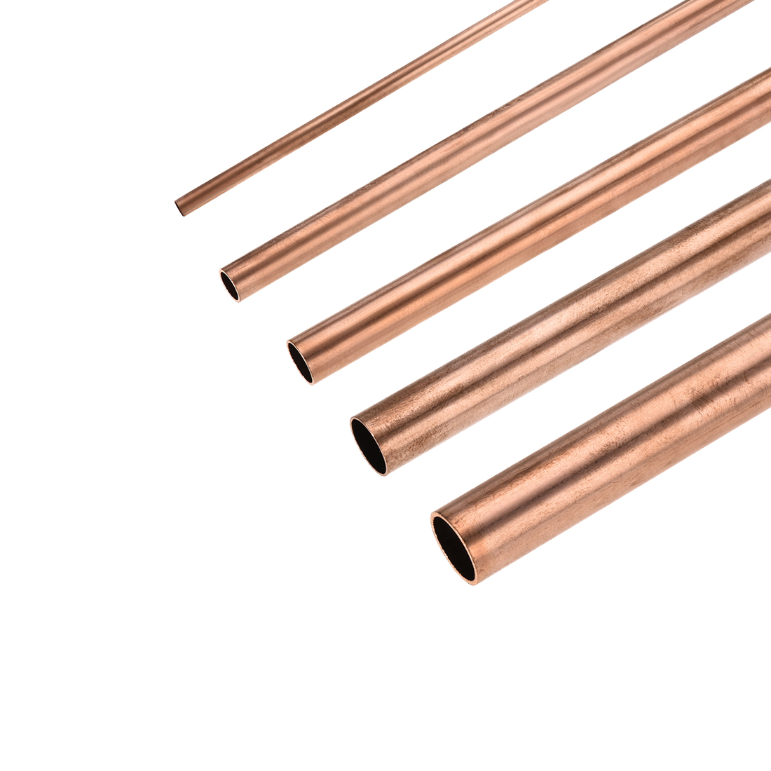 Uxcell 2 Pcs Copper Round Tube 7mm-30mm ID Hollow Straight Pipe Tubing Smooth Surface Length 100mm/200mm/300mm