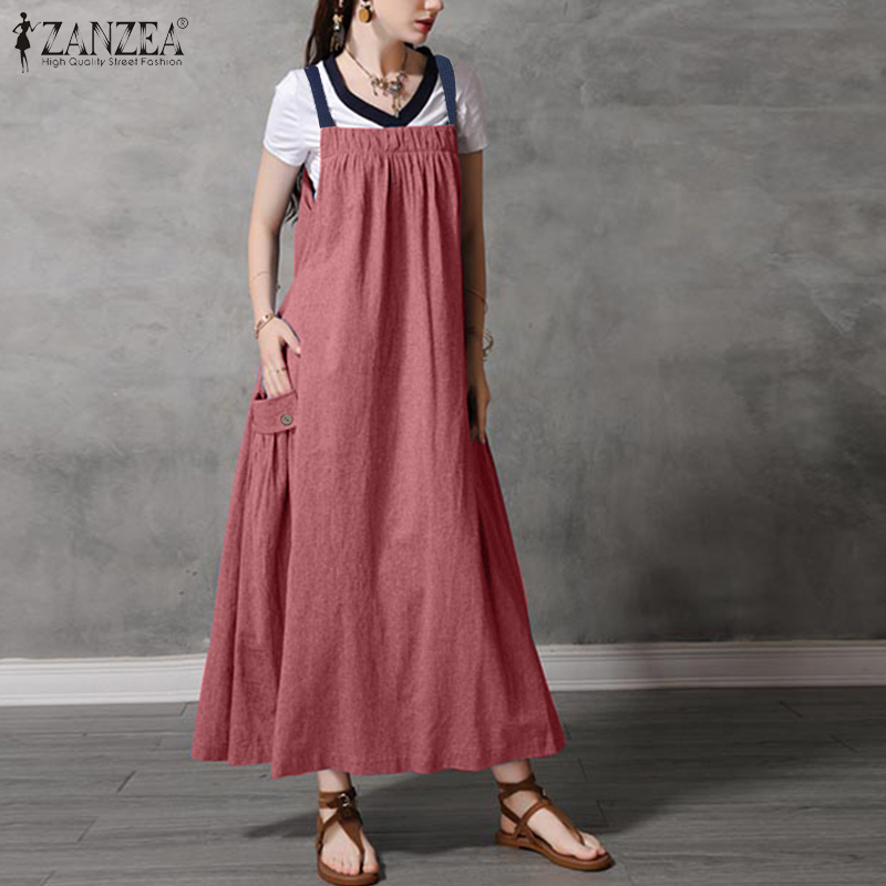 2021 ZANZEA Summer Sundress Kaftan Women's Suspender Dress Casual Overalls Pleated Midi Vestidos Female Solid Robe Plus Size 7