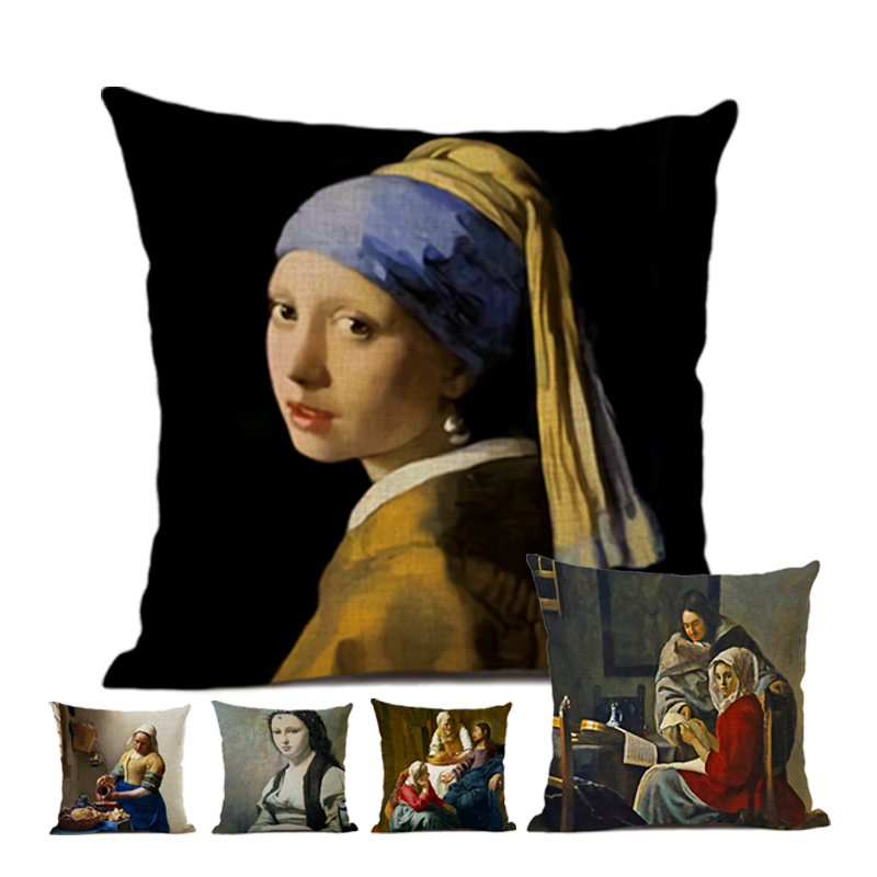 Art Decoration Cushion Cover 45*45cm Coffee Bar Hotel Office Linen Pillow Cover Johannes Vermeer Art Oil Painting Pearl Girl