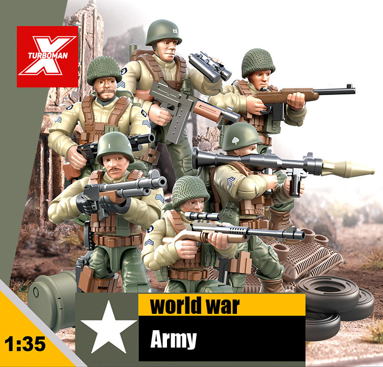 1:35 Scale World War Military Battle Of Rhineland Army Action Figures Mega Block Ww2 Weapon Gun Building Bricks Toys For Gifts